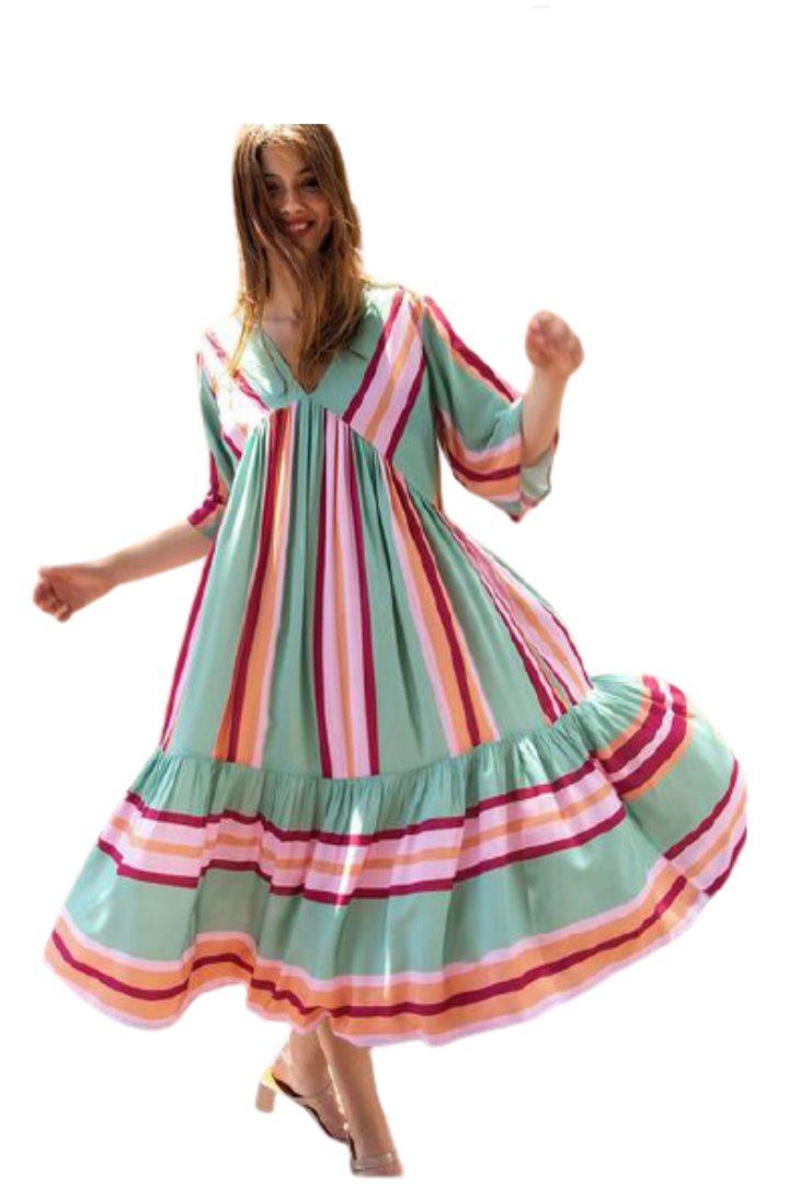 Moutaki boho φόρεμα κοντομάνικο
