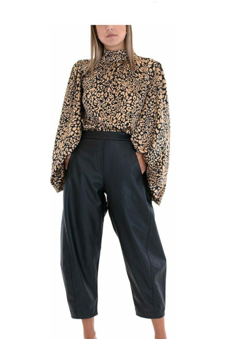 Moutaki γυναικείο ψηλόμεσο παντελόνι δερματίνη μαύρο