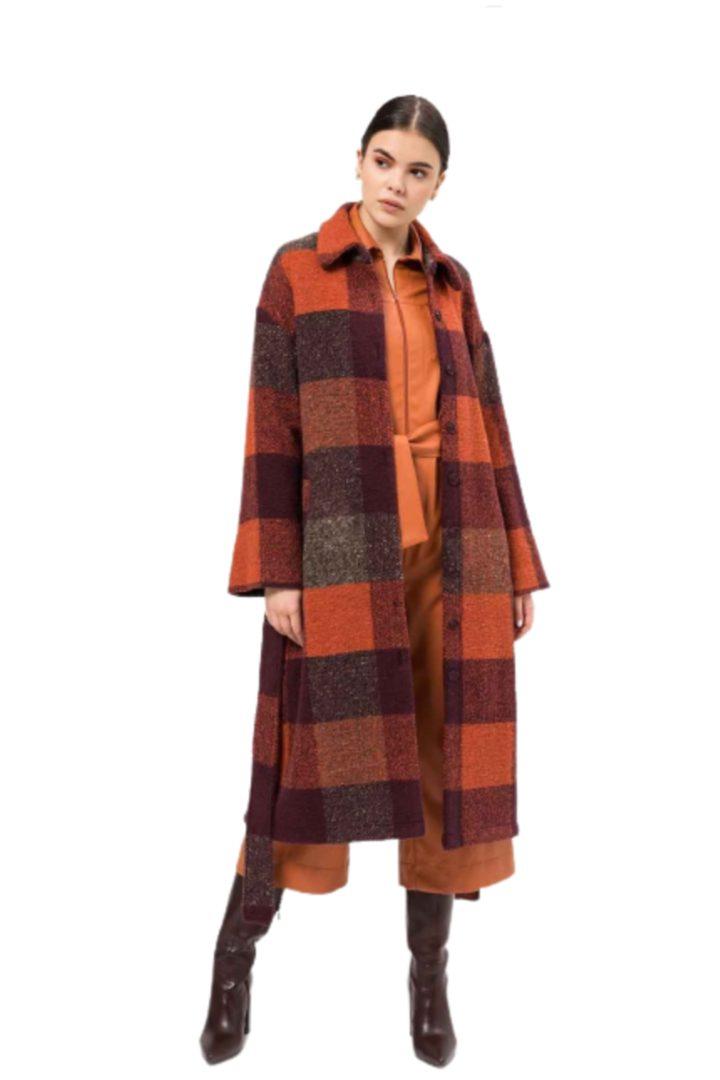moutaki γυναικείο καρό παλτό μίντι
