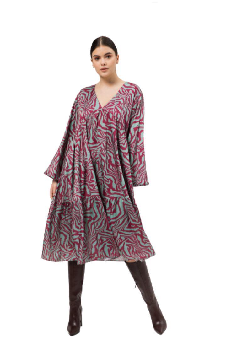 Moutaki μίντι φόρεμα με εντυπωσιακό print,καμπάνα μανίκι
