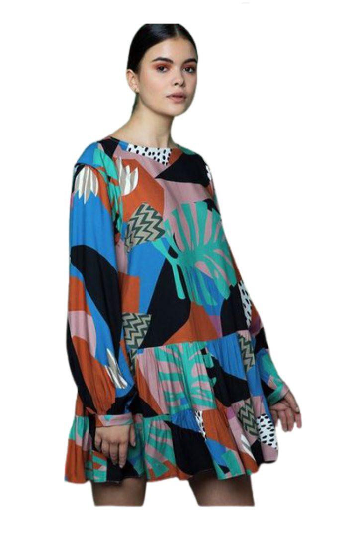 Moutaki μίνι φόρεμα μακρυμάνικο ,πολυχρωμο