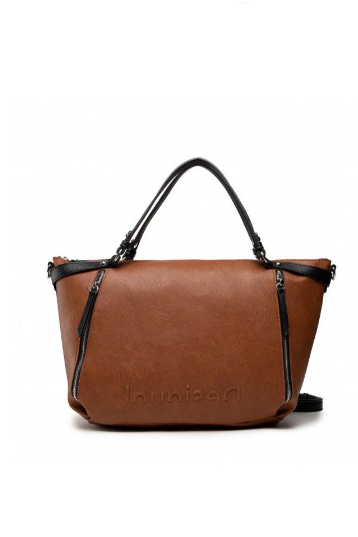 Desigual τσάντα χειρός-ώμου , καφέ χρώμα