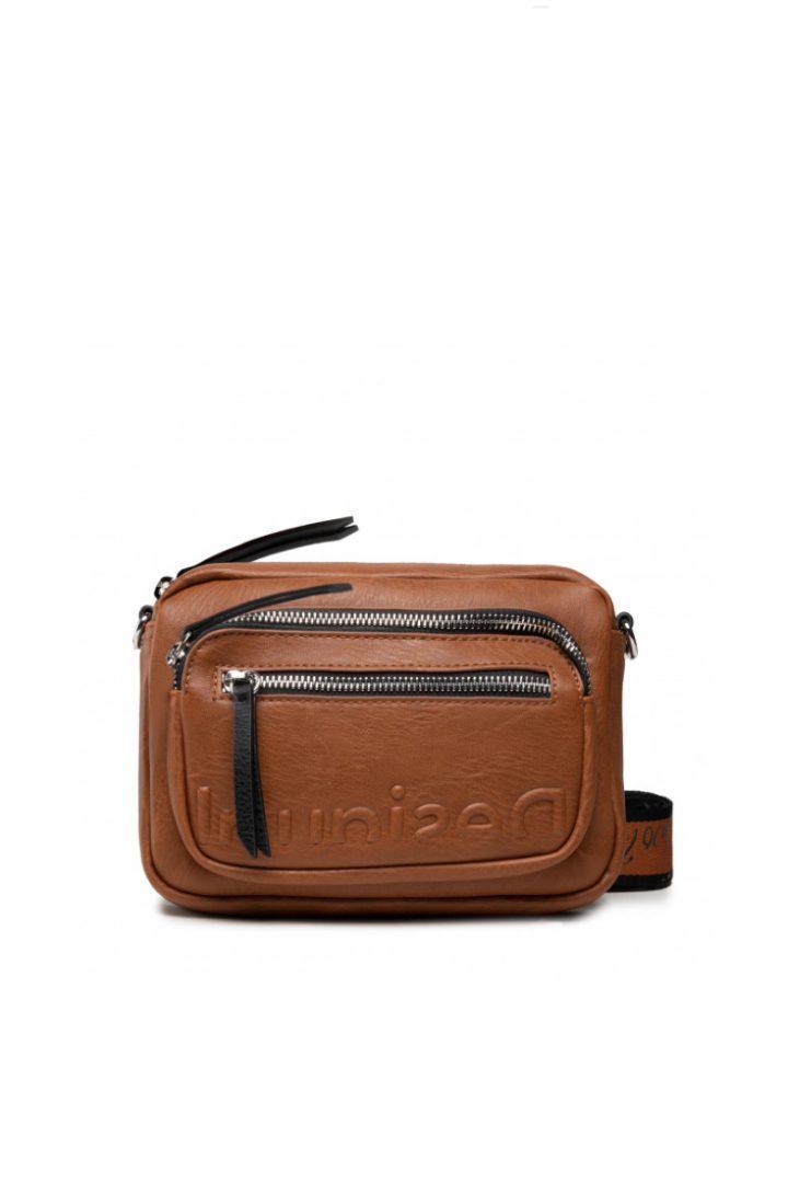 Desigual mini τσάντα χιαστί καφέ χρώμα