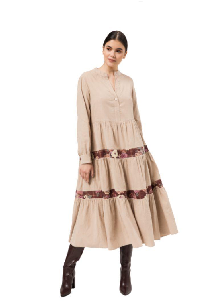 Moutaki κοτλέ μίντι φόρεμα
